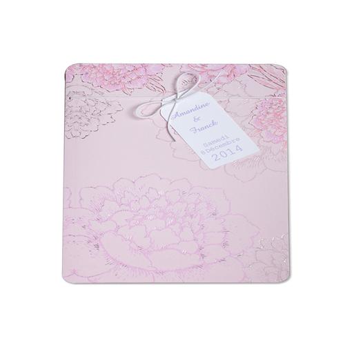 Faire-Part Mariage Traditionnel - Parterre de fleurs roses 22219