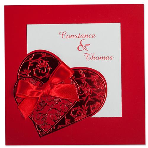 Faire-Part Mariage Traditionnel - Coeurs enlacés 22273