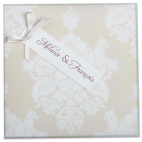 Faire-Part Mariage Traditionnel - Arabesque blanche 22305