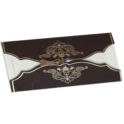 Faire-Part Mariage Traditionnel - Arabesque chocolat et or 22328