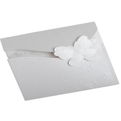 Faire-Part Mariage Traditionnel - Papillon irisé et ivoire 22332