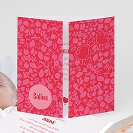 Faire-Part Naissance Fille - Rouge & Rose - 1