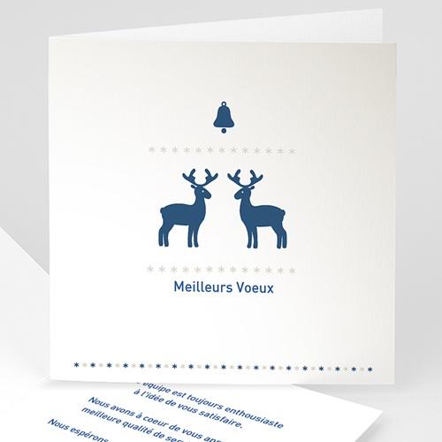 Cartes de Voeux Professionnels - Petits rennes bleus 22632