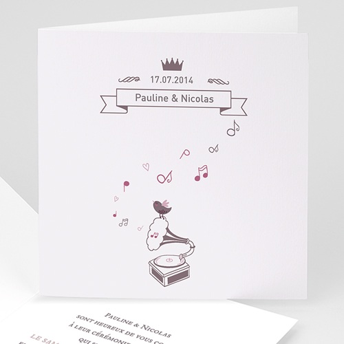 Faire-Part Mariage Personnalisés - Douce Musique 22665