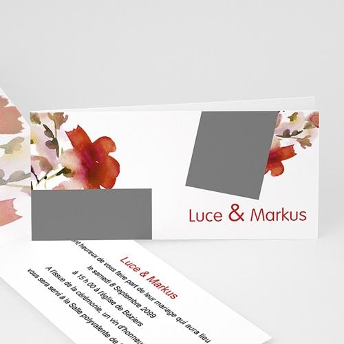 Faire-Part Mariage Personnalisés - Fleur et corail 22976