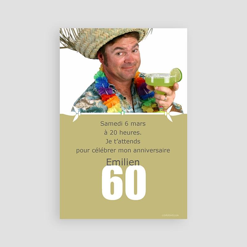 Invitation Anniversaire Adulte - 60 ans | Carteland.com