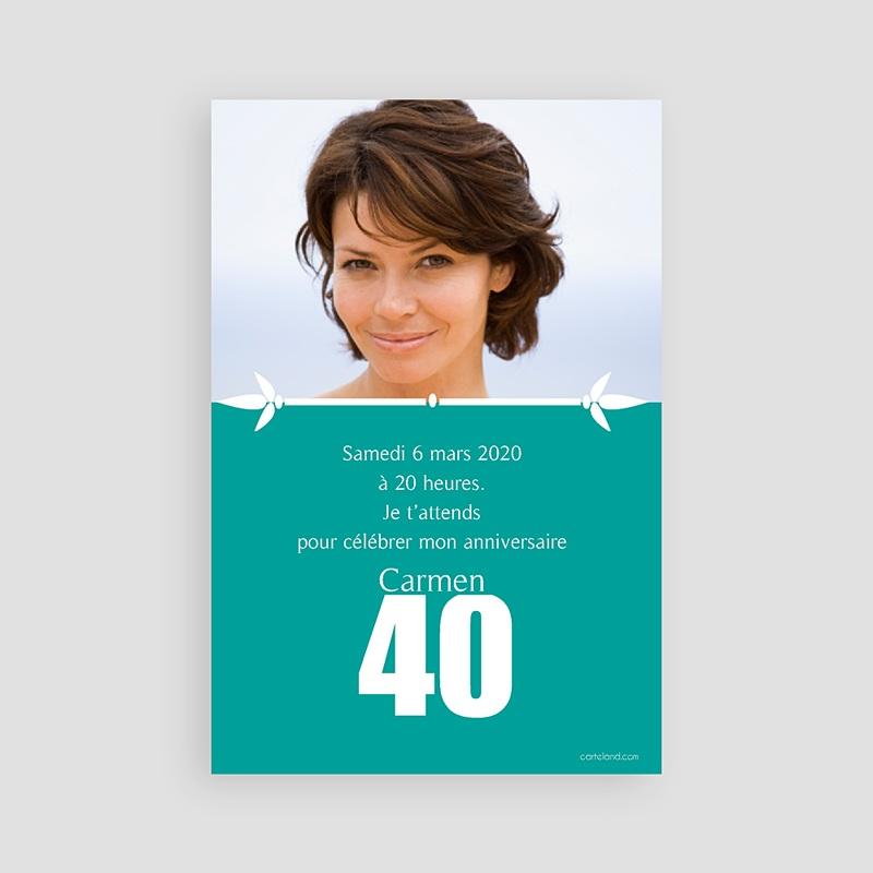 Cartes d'invitations Anniversaire de 40 à 49 ans - 04076-GI2-R
