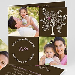 Faire-part Adoption Fille - L'arbre d'amour - Rose 23766