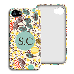 Coque Iphone 4/4s personnalisé - Fleurs jaunes - 1