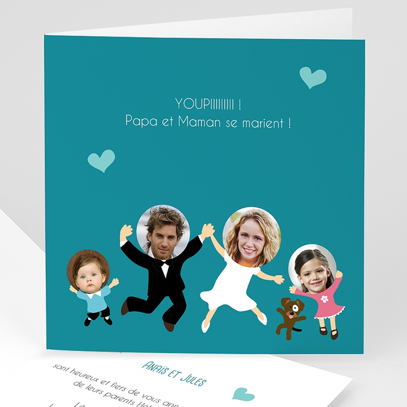 faire part mariage personnaliss happy family 1 - Invitation Mariage Texte Humoristique