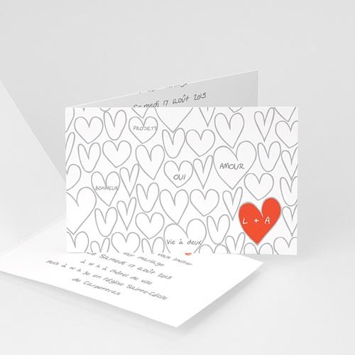 Faire-Part Mariage Personnalisés - Coeurs dessinés 24297