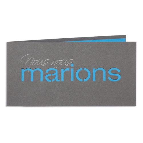 Faire-Part Mariage Traditionnel - Couleur Bleu 24452