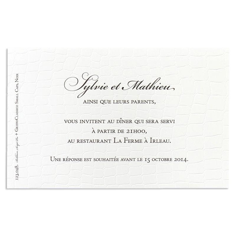 carton invitation traditionnel lunch croco. Black Bedroom Furniture Sets. Home Design Ideas