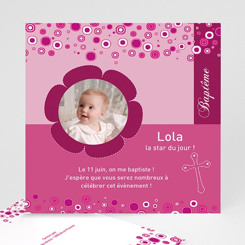 Faire-part Baptême Fille - Fleur rosée 24481