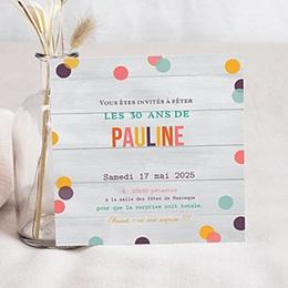 Invitation Anniversaire Adulte - Confettis - 1