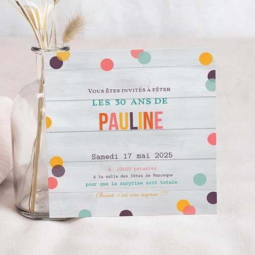 Invitation Anniversaire Adulte - Confettis 24508