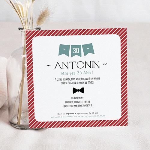 Invitation Anniversaire Adulte - Fanions 24550
