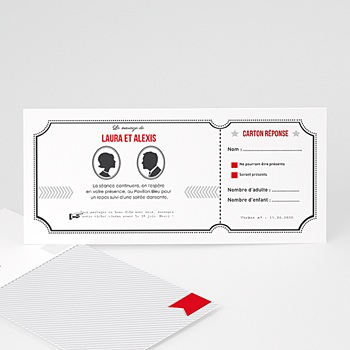 Cartons d'Invitation Personnalisés - Ticket Cinéma - 1