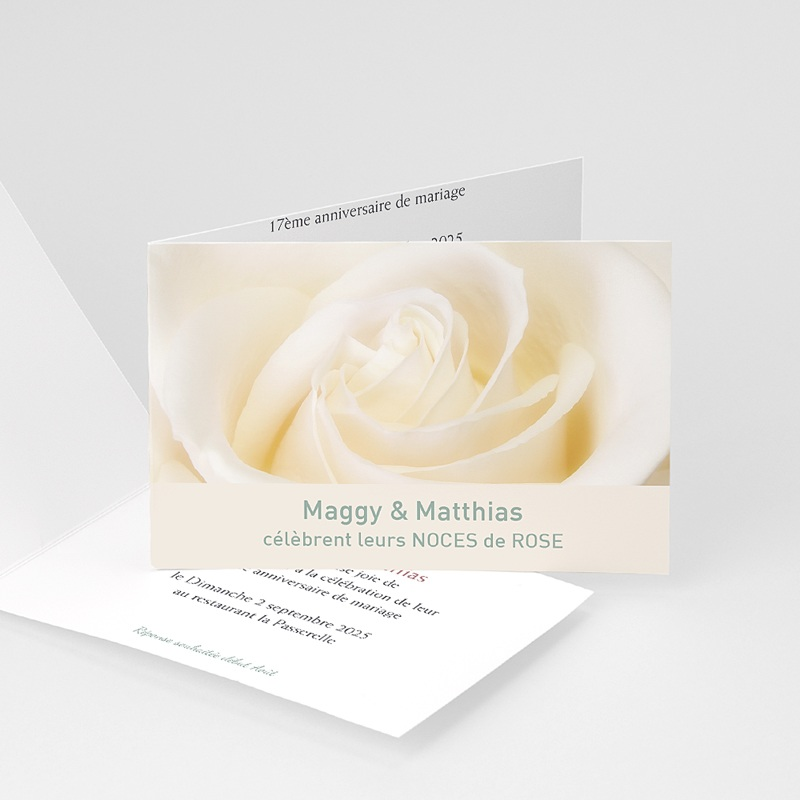 invitation anniversaire mariage noces rose 17 ans. Black Bedroom Furniture Sets. Home Design Ideas