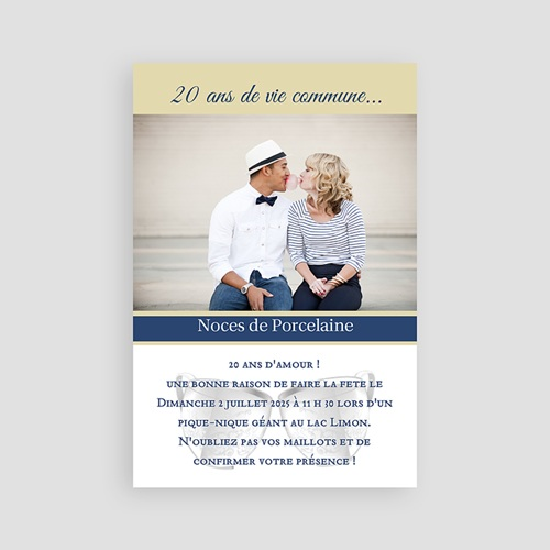 invitation anniversaire mariage noce porcelaine 20ans. Black Bedroom Furniture Sets. Home Design Ideas