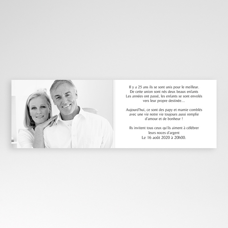 carte invitation 25e anniversaire de mariage