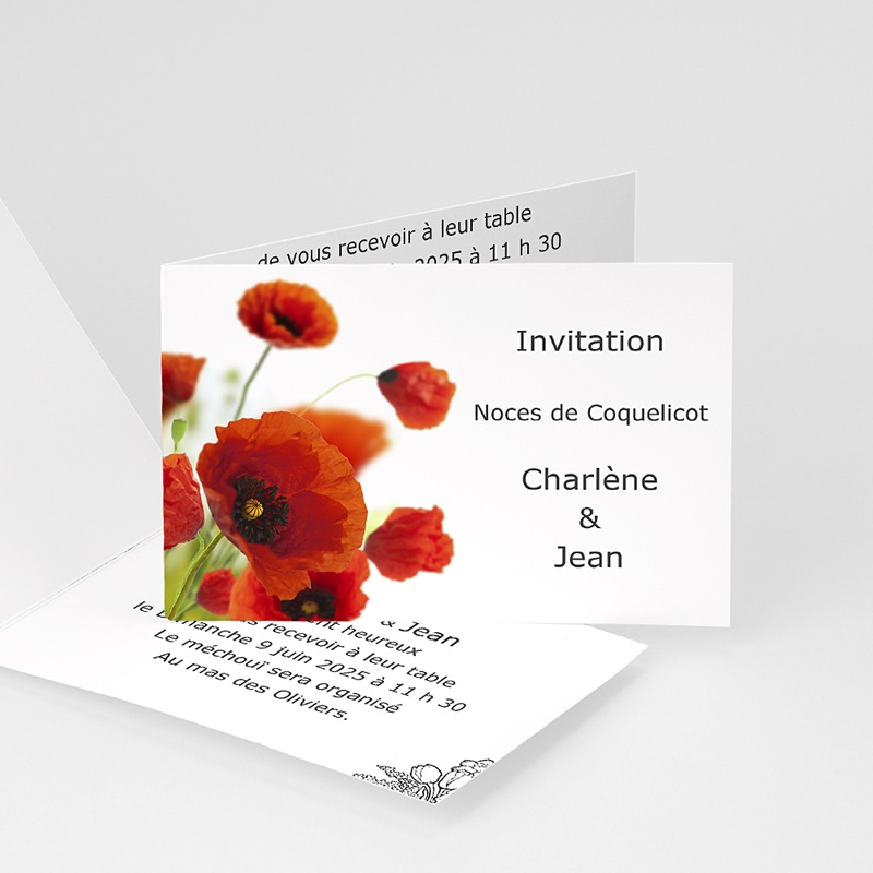 Invitation anniversaire mariage noces coquelicot 8 ans - 8 ans de mariage noce de ...
