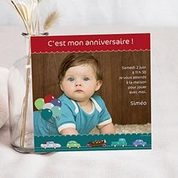 Invitations Anniversaire Garçon - Voiture -  Carte Anniversaire - 3