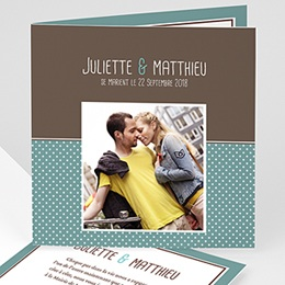 Faire-Part Mariage Personnalisés - Chocolat et Turquoise - 3