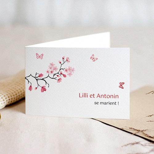 Faire-Part Mariage Personnalisés - Fleurs d'amour et papillons 3118