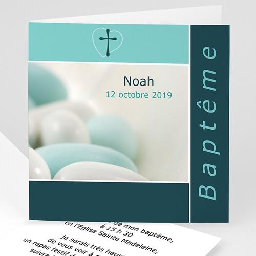 Faire-part Baptême Garçon - Croix et dragées de Baptême - Bleu 3362