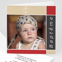 Faire-part Baptême Fille - Croix et dragées de Baptême - Rouge et Gris - 3