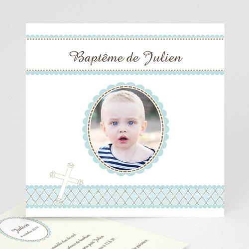 Faire-part Baptême Garçon - Baptême Rétro - Garçon 3386