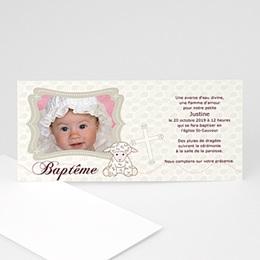 Faire-part Baptême Fille - Baptême Agneau - 3