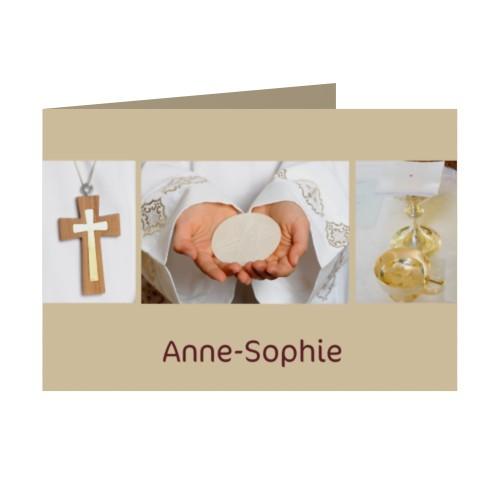 Download faire part communion fille profession de foi beige picture