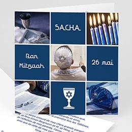 Faire-part Bar-Mitzvah - Bar Mitzvah et ses symboles en bleu - 3
