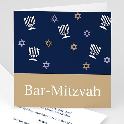 Faire-part Bar-Mitzvah - Marron doré et bleu 3490