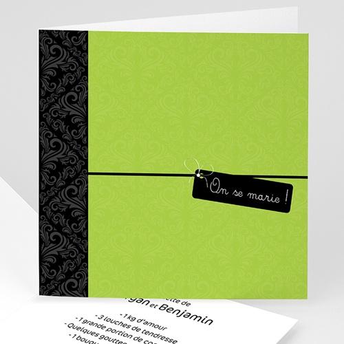 Faire-Part Mariage Personnalisés - Vert Pomme 3510