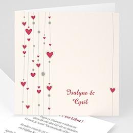 Faire-Part Mariage Personnalisés - Mariage perles de coeurs - 3