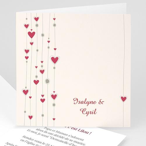 Faire-Part Mariage Personnalisés - Mariage perles de coeurs 3526