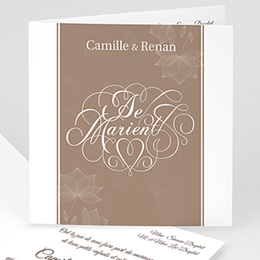 Faire-part Mariage Personnaliss - El&eacute;gance chocolat - 3
