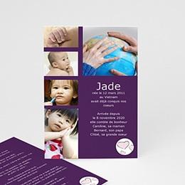 Faire-part Adoption Fille - Bienvenu dans notre monde - Violet - 3