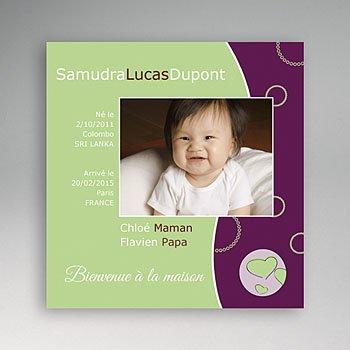 Faire-part Adoption Fille - La couleur de l'Amour - Vert et Violet - 3