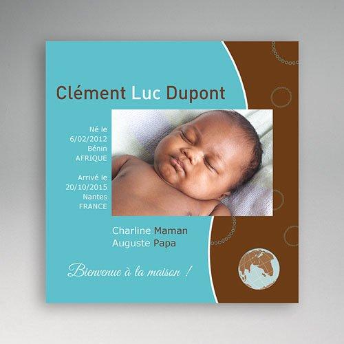 Faire-part Adoption Garçon - La couleur de l'Amour  - Bleu et Marron 3566