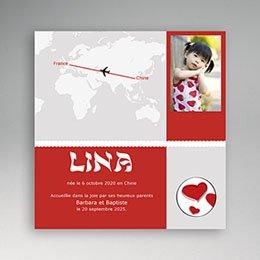 Faire-part Adoption Fille - Autour du Monde - Gris et Rouge - 3
