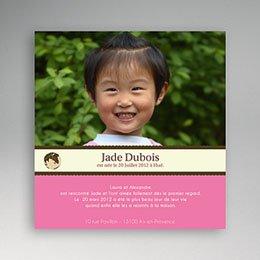 Faire-part Adoption Fille - Nouveau Monde - Rose 3606