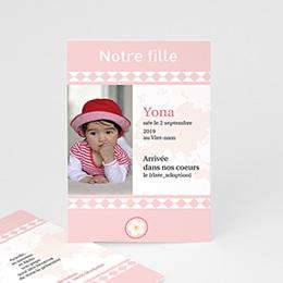 Faire-part Adoption Fille - L'amour sans frontière - Rose 3622