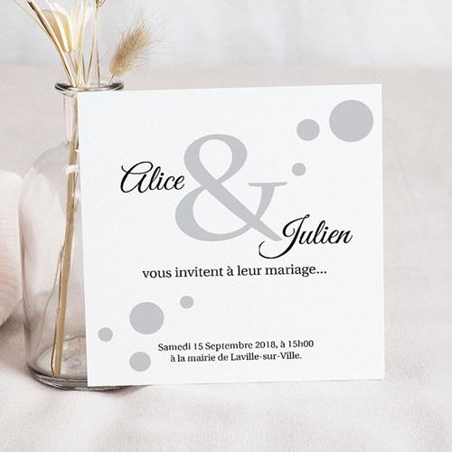 Faire-Part Mariage Personnalisés - Confetti blanc et gris à pois 36744