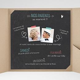 Faire-Part Mariage Pochette carré - Vive les parents - 0
