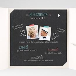 Faire-Part Mariage Pochette carré - Vive les parents - 1