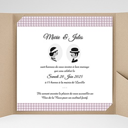 Faire-Part Mariage Pochette carré - Lady and Gentleman - 0